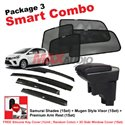 [Smart Combo] PERODUA MYVI 2018 (4pcs) SAMURAI SHADES + (1set) Premium Arm Rest + (1set) MUGEN Style Door Visor
