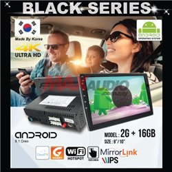 """BLACK SERIES 9""""/10"""" 2RAM + 16GB Memory Android 2.5D IPS 8.1 Oreo 4K Ultra HD Double Din Display Player"""