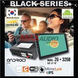 """BLACK SERIES 9""""/10"""" 2RAM + 32GB Memory Android 2.5D IPS 9 Pie 4K Ultra HD Double Din Display Player"""