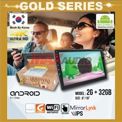 "GOLD SERIES 9""/10"" 2RAM + 32GB Memory Android 2.5D IPS 8.1 Oreo 4K Ultra HD Double Din Display Player"