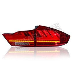 HONDA CITY GM6 2014-2020 (Lexus Style V2) Red Clear Lens LED Light Bar Tail Lamp with Sequential Signal (Pair) (TL-250-V2)