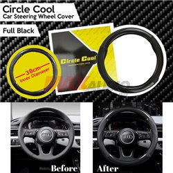 Car Carbon Fiber Full Black Steering Wheel Cover Auto Anti-Slip Leather Automotive Interior Accessories Decorate 38cm inner Diam