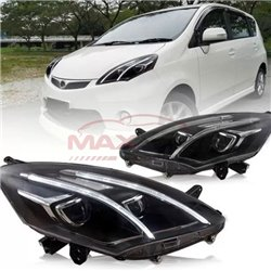 PERODUA ALZA 2009 - 2020 E-Class Style LED Light Bar DRL Double Projector Head Lamp (Pair)