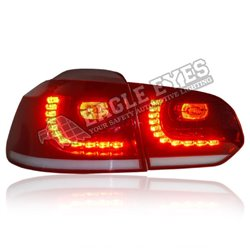 VOLKSWAGEN GOLF MK6 2008 - 2014 EAGLE EYES GTI Style Red Clear Lens LED Tail Lamp with Sequential Turn Signal [TL-307-SQ]