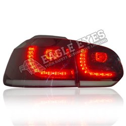 VOLKSWAGEN GOLF MK6 2008 - 2014 EAGLE EYES GTI Style Dark Red Clear Lens LED Tail Lamp with Sequential Turn Signal [TL-307-SQ-2]