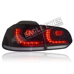 VOLKSWAGEN GOLF MK6 2008 - 2014 EAGLE EYES GTI Style Full Smoke Lens LED Tail Lamp with Sequential Turn Signal [TL-307-SQ-1]