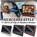 "Universal Fitting Mercedes Style 9"" HD LCD Clip-on Car Vehicle Headrest Monitor Display Screen (Pair)"