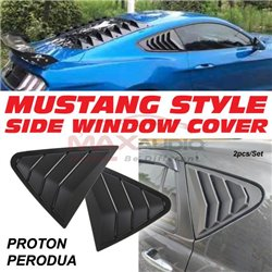 PERODUA PROTON Premium Mustang Style ABS Side Window Air Vent Louver Cover Guard Protector (Pair)