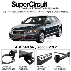 AUDI A3 (8P) 2003 - 2012 SUPER CIRCUIT Chassis Stablelizer Strengthening Racing Safety Strut Bars