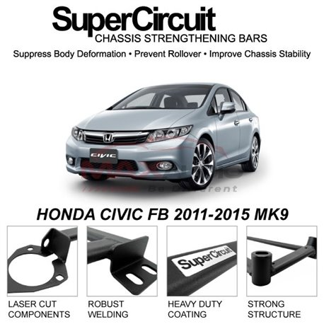 HONDA CIVIC FB 2011-2015 MK9 SUPER CIRCUIT Chassis Stablelizer Strengthening Racing Safety Strut Bars
