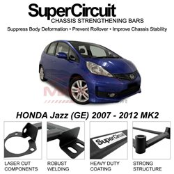 HONDA Jazz (GE) 2007 - 2012 MK2 SUPER CIRCUIT Chassis Stablelizer Strengthening Racing Safety Strut Bars