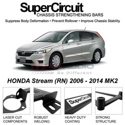 HONDA Stream (RN) 2006 - 2014 MK2 SUPER CIRCUIT Chassis Stablelizer Strengthening Racing Safety Strut Bars