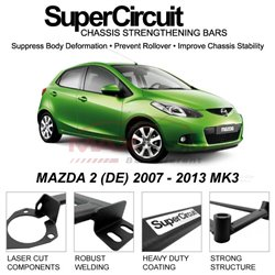 MAZDA 2 (DE) 2007 - 2013 MK3 SUPER CIRCUIT Chassis Stablelizer Strengthening Racing Safety Strut Bars