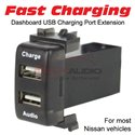 For Most Nissan Dual 12V USB Fast Charging With Audio Video Music Media Socket Slot Port Interface Extension