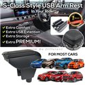 MOST CARS Premium Quality S-Class Style Black Leather Arm Rest Armrest with USB Charger Extension & Cup Holder