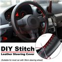 Universal Soft Breathable Non-slip 38cm DIY Car Steering Wheel Braiding Leather Cover with Needles and Red Thread