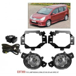 NISSAN LIVINA 2007 - 2012: TRIO Super Bright OEM Fog Lamp Spot Light with Bulb, Full Wirring Kit, Socket & Switch [E87369]