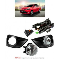 TOYOTA VIOS 2013 - 2015: TRIO Super Bright OEM Fog Lamp Spot Light with Bulb, Full Wirring Kit, Socket & Switch [T87565]