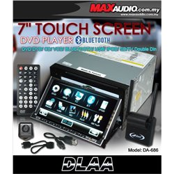 "DLAA PRO DA-686 7"" Full HD Motorized Double Din DVD CD USB SD BLUETOOTH TV Player FREE Rear Camera + TV Antenna"