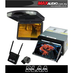 "DLAA DA-686 7"" Full HD Motorized Double Din DVD CD USB SD BLUETOOTH TV Player FREE Rear Camera + TV Antenna + 9"" Roof Monitor"