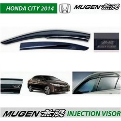 HONDA CITY GM6 2014 - 2017 ORIGINAL Mugen Injection Anti UV Light Door Visor with Mugen Power Logo (AL)