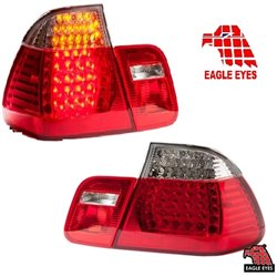 BMW E46 2 Doors 1998 - 2001 3-Series: EAGLE EYES Red & Clear M3 LED Tail Lamp [TL-026-BMW]