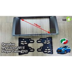 PERODUA MYVI ICON 2015 Double Din Dashboard Casing Panel (Silver/ Black)