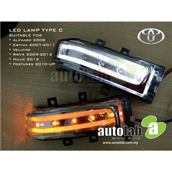 MOST TOYOTA & PERODUA MYVI OLD 3 in 1 DRL Day Running Light + Signal Light + Welcome Light Side Mirror LED Lamp