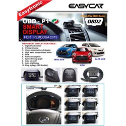 PERODUA BEZZA, AXIA, ALZA,  MYVI ICON 2015 - 2016 EASY CAR 10 in 1 OBD II Plug & Play Smart Display Racing Monitor [OBD-P1]