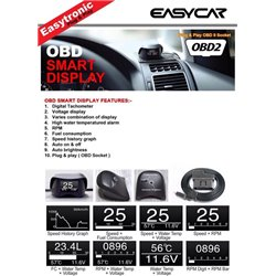 ALL HONDA CIVIC, CITY, JAZZ, FIT, HRV, CRV, ACCORD, ODDSSEY EASY CAR OBD II Plug & Play Smart Display Racing Monitor [OBD-HD1]