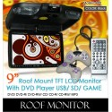 "DLAA 9"" Roof Mount TFT Monitor DVD/MP3/CD/USB/SD with 300 Games [990 BLACK]"