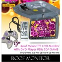 "DLAA 9"" Roof Mount TFT Monitor DVD/MP3/CD/USB/SD with 300 Games [990 GREY]"