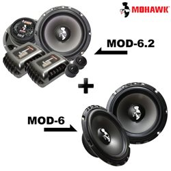 "2 in 1 Package - MOHAWK DIAMOND MOD-6.2 6.5"" 2-Way Component Speaker + MOD-6 6.5"" Mid Bass Speaker Set"