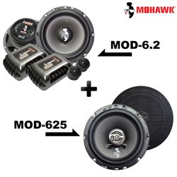 "2 in 1 Package - MOHAWK DIAMOND MOD-6.2 6.5"" 2-Way Component Speaker + MOD-625 6.5"" 2-Way Coaxial Speaker Set"