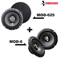 "2 in 1 Package - MOHAWK DIAMOND MOD-625 6.5"" 2-Way Coaxial Speaker + MOD-6 6.5"" Mid Bass Speaker Set"