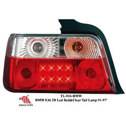 BMW E36 2D 3-Series 1992 - 1997 EAGLE EYES CLEAR RED LED Tail Lamp [TL-016-BMW]