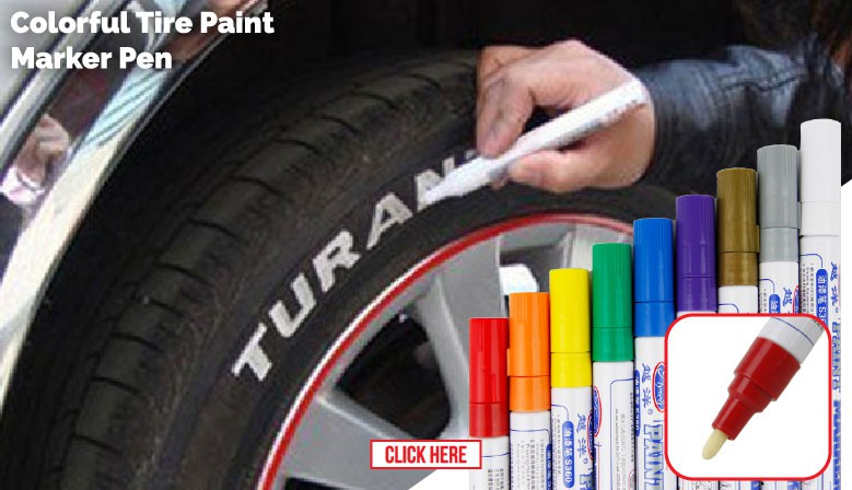 Car Motorcyle Tire Tyre Tayar Wheel Tread Wording Logo Touch Up Paint Permanent Marker Pen (4 Unit)