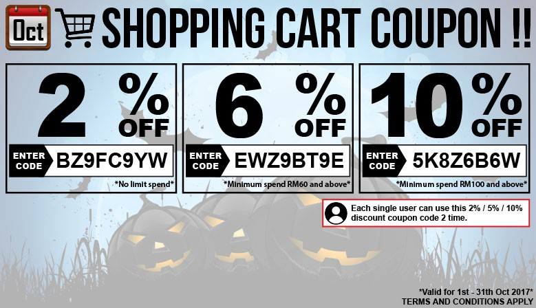 October Coupon Discount Code !!