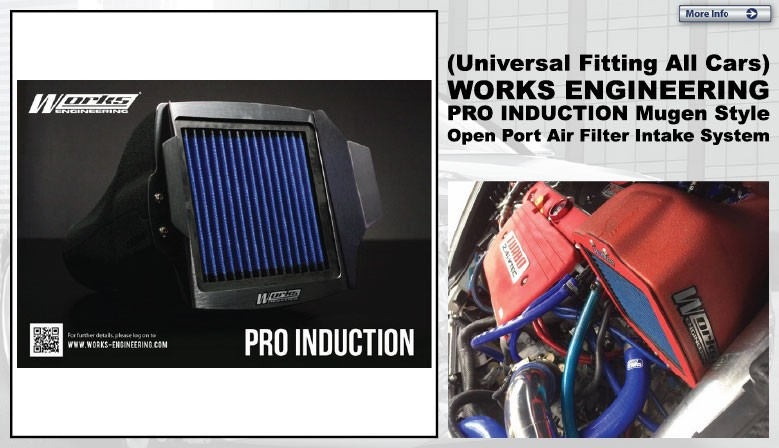 (Universal Fitting All Cars) WORKS ENGINEERING PRO INDUCTION Mugen Style Open Port Air Filter Intake System [W-PIK]